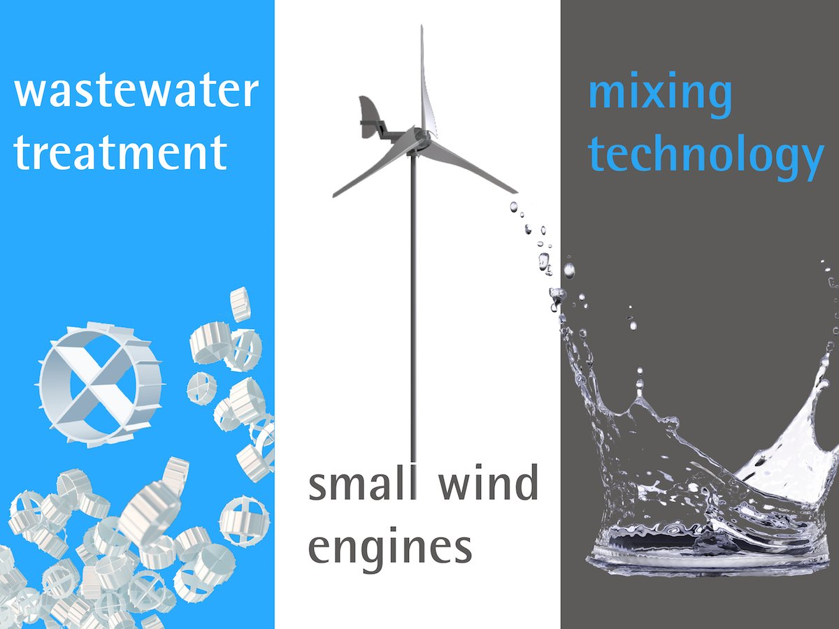 Portfolio Activities: Wastewater treatment, Small wind engines, Mixing technology